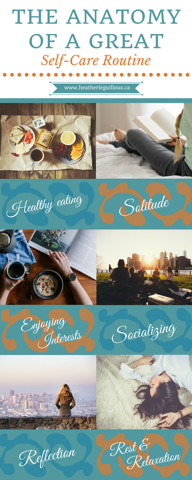 Blog article @hleguilloux focusing on six fundamental areas of a self-care routine including #healthyeating #solitude #interests #socializing #reflection #rest & #relaxation - includes links & resources to help build your own great self-care routine!
